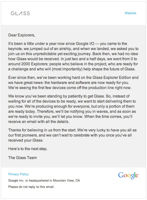 Google Glass Availability and Shipment Details