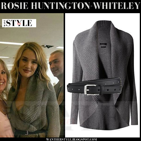 Rosie Huntington-Whiteley in grey knit M&S Autograph cardigan with black leather Saint Laurent belt what she wore models off duty