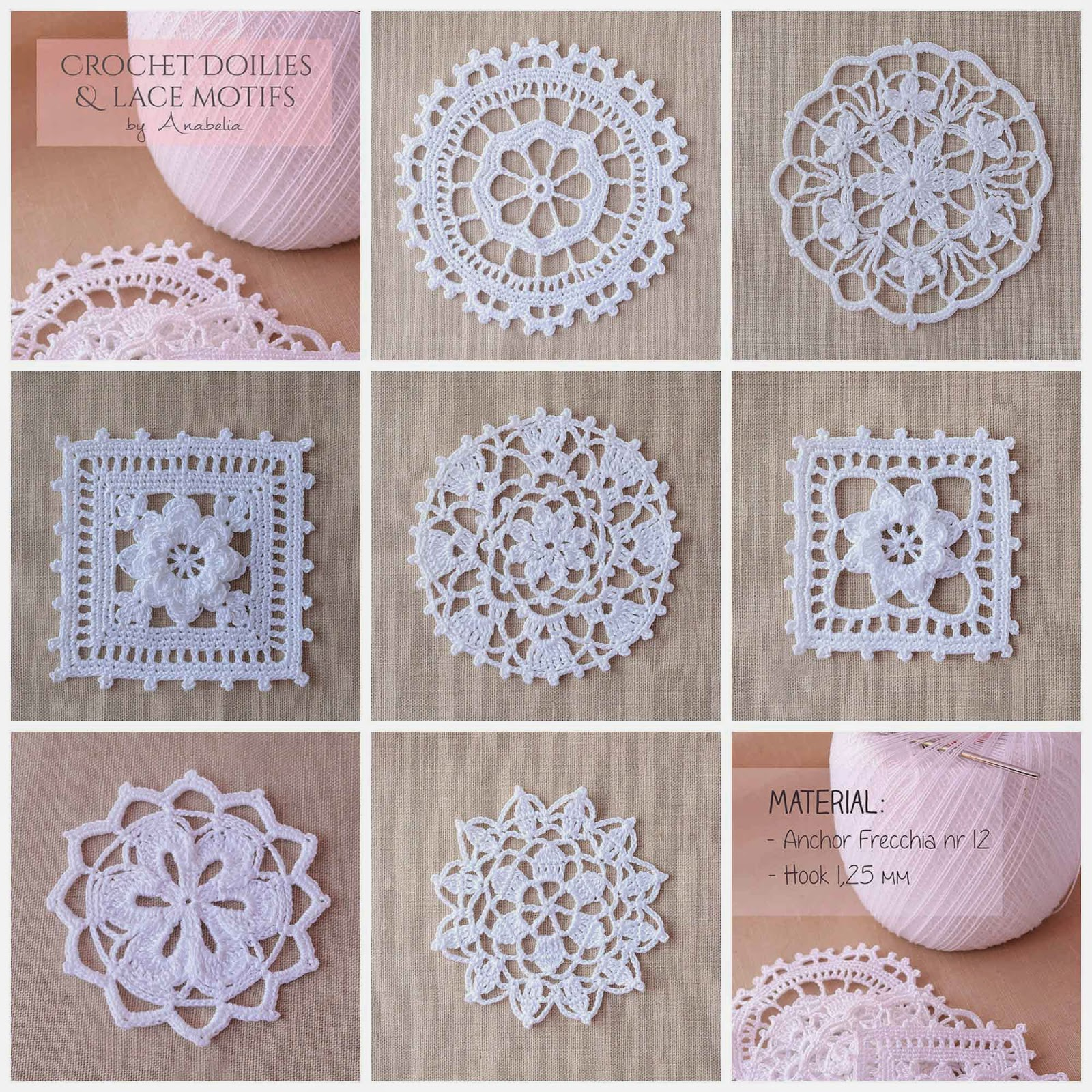 Crochet Patterns For Motifs : Anabelia craft design: Crochet doilies and lace motifs