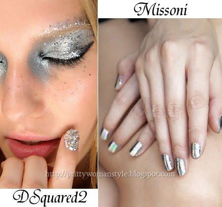 Маникюр сребърен металик на Missoni и маникюр с кристали на DSquared2