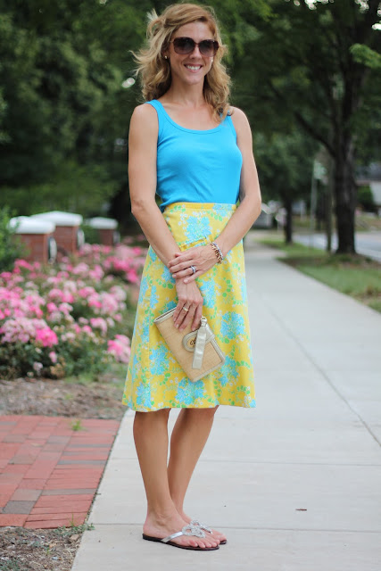 Gap ribbed tank, Lilly Pulitzer vintage skirt, Coach Clutch, fibi & clo love knot sandals, Blinde Sungalsses, Tiffany Ring, Stella and Dot Bracelet
