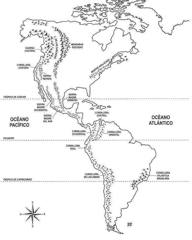 COLOREA TUS DIBUJOS: Mapa con las montañas de América – Orografía ...