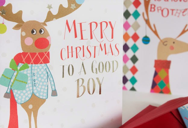 reindeer good boy relation Christmas cards Liz and Pip greeting cards designers
