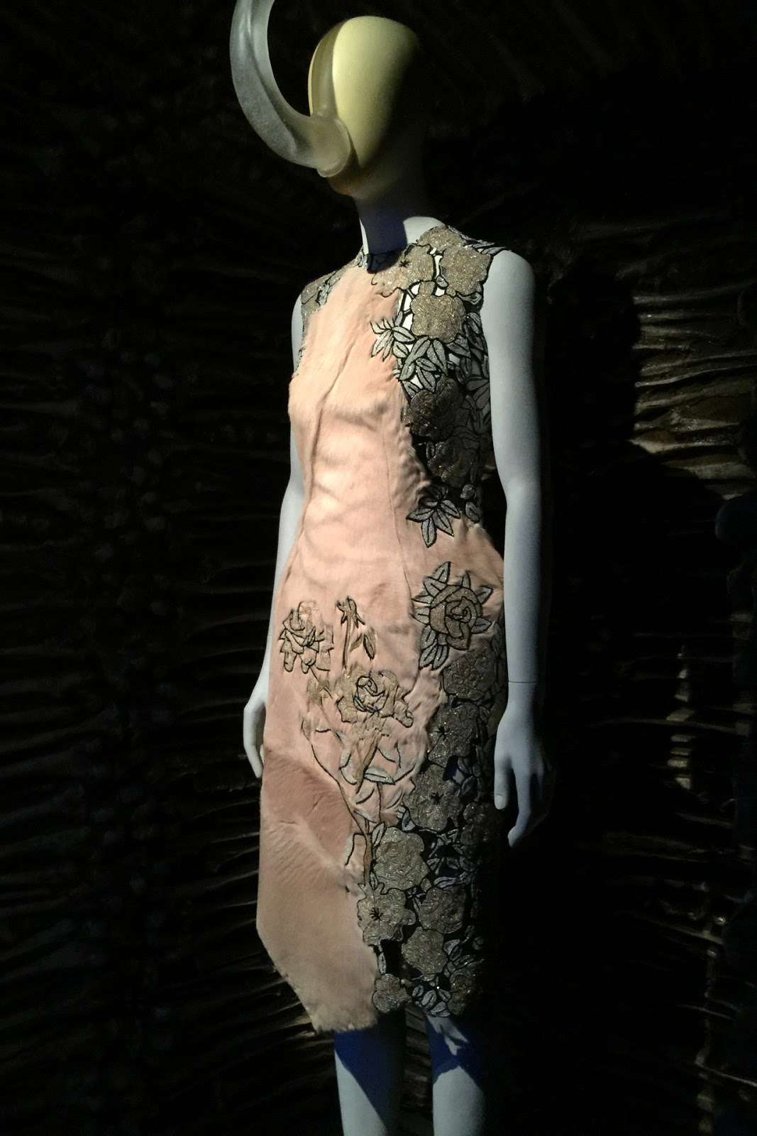 "Silk and leather dress from the ""Eshu"" Fall/Winter 2001-2002 collection / Alexander McQueen Savage Beauty Exhibition Victoria & Albert museum London / via fashioned by love British fashion blog"