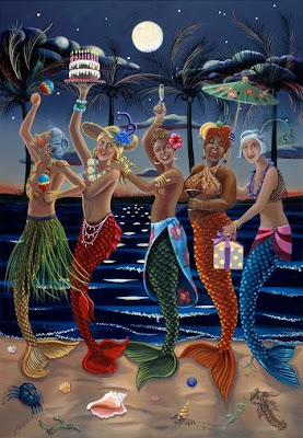 party girl mermaids dancing in the moonlight