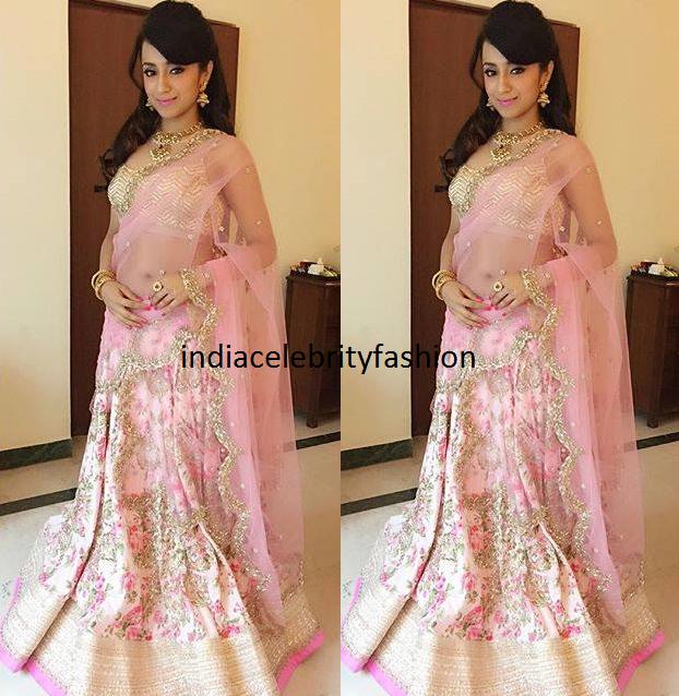 Trisha krishnan in Anushree Reddy Pastel Lehenga