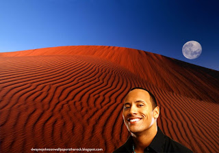Desktop Wallpapers of Dwayne Johnson The Rock Smiling Actor in Red Moon Desert wallpaper