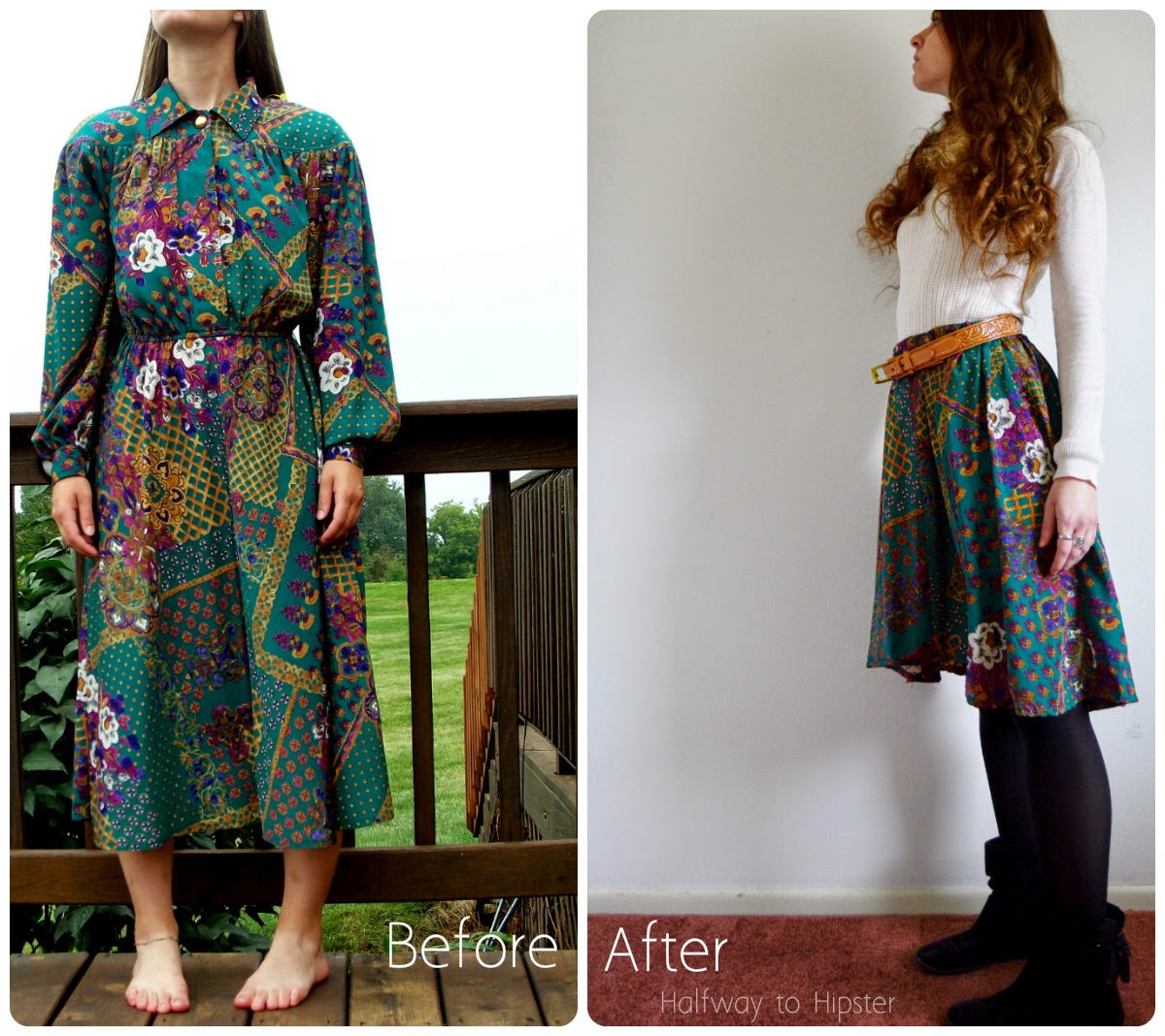 80's Dress to Skirt Refashion