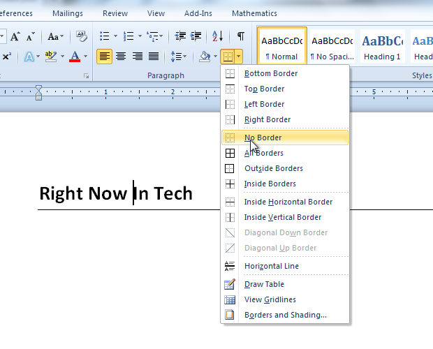 how to get rid of the bar in word