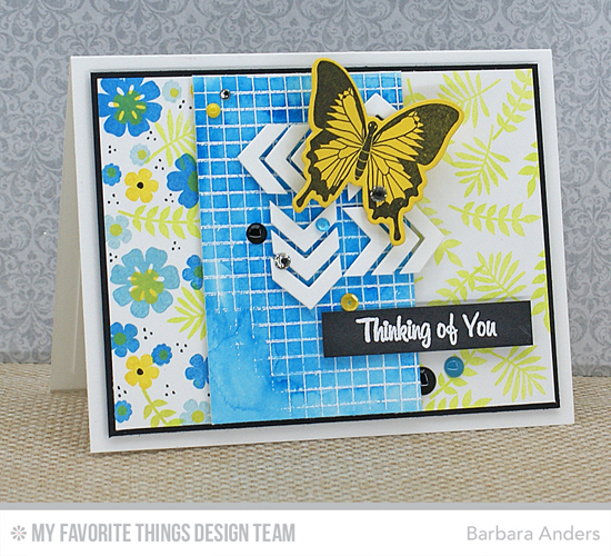 Butterfly Thinking of You Card from Barbara Anders featuring the MPD WInged Beauties stamp set and Die-namics