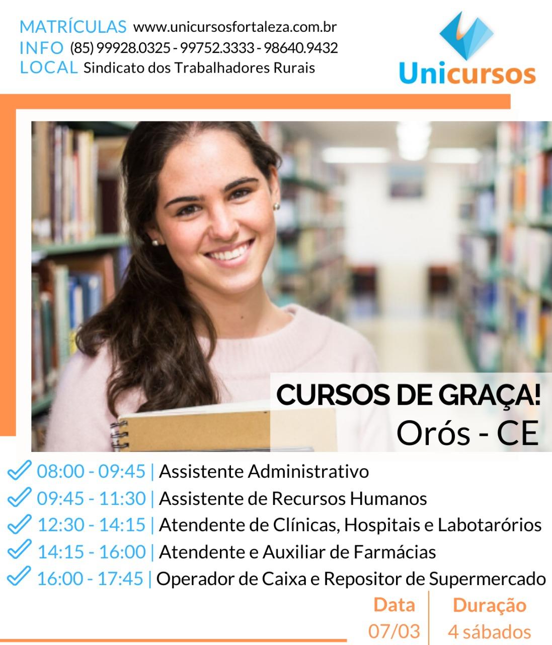 Cursos gratuitos em Orós, click no banner e inscreva-se.