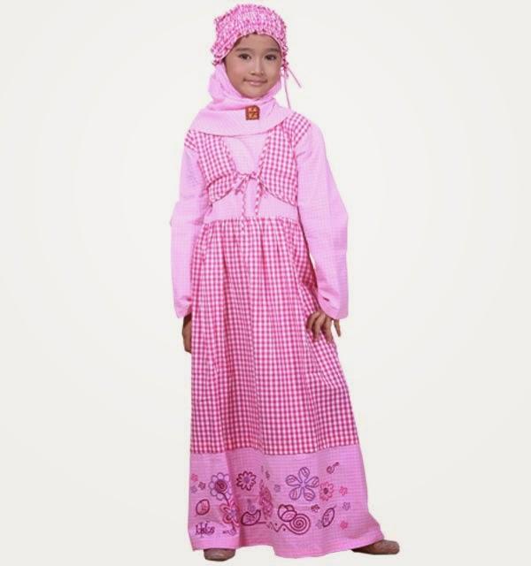 Gambar baju muslim anak perempuan warna merah muda
