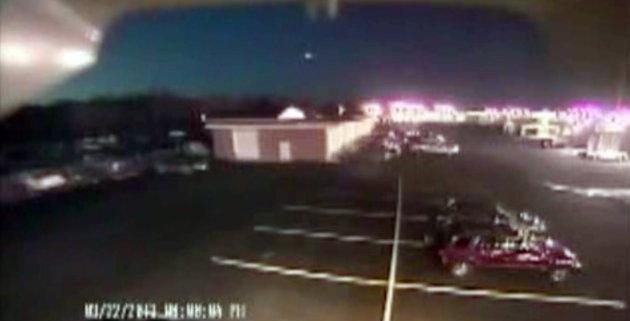 "Associated Press/Hopkins Automotive Group - In this image taken from video provided by Tom Hopkins of Hopkins Automotive Group, a bright flash of light, top center, streaks across the early-evening sky in what experts say was almost certainly a meteor coming down, Friday, March 22, 2013 in Seaford, Del. Bill Cooke of NASA's Meteoroid Environmental Office said the flash appears to be ""a single meteor event."" He said it ""looks to be a fireball that moved roughly toward the southeast, going on visual reports."" (AP Photo/Hopkins Automotive Group) MANDATORY CREDIT: HOPKINS AUTOMOTIVE GROUP"