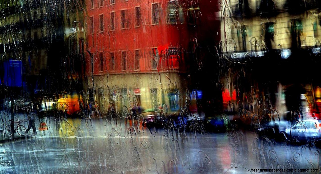 View Original Size Rainy City Street Painting