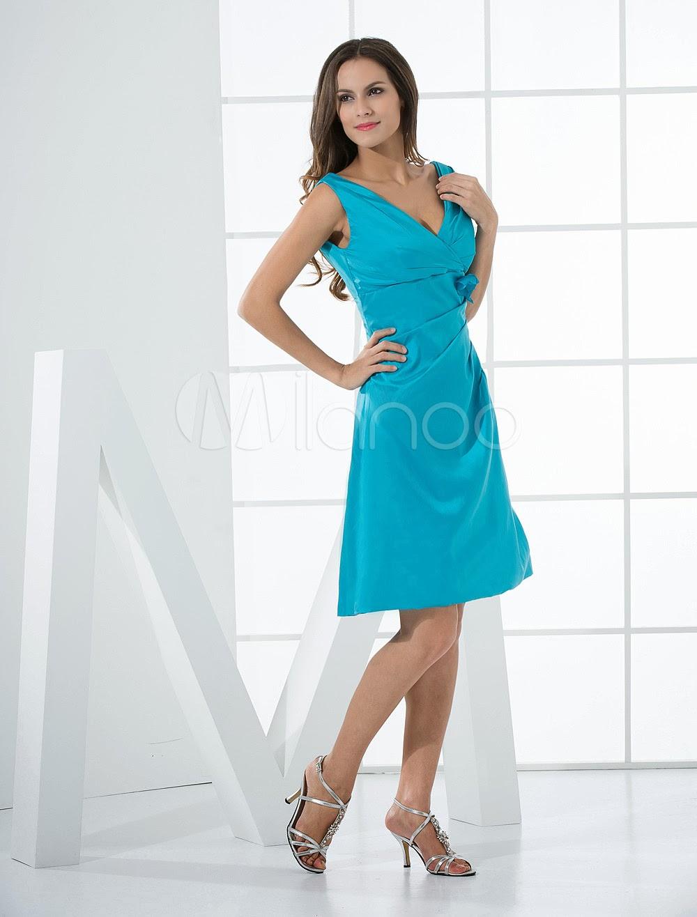 China Wholesale Clothes - Beautiful Blue Taffeta A-line V-neck Bridesmaid Dress