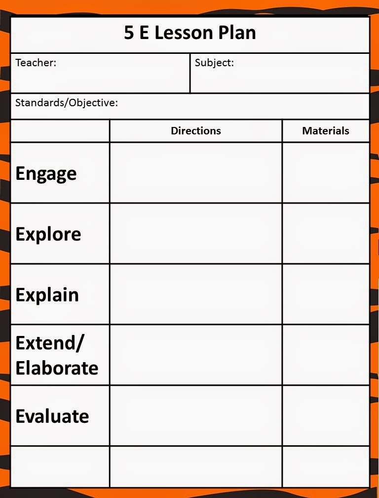 Queen of the jungle the 5e model our new lesson plans for 5 e model lesson plan template
