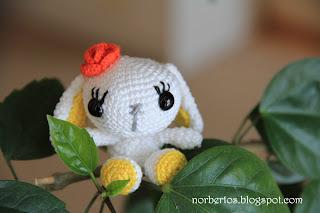 Crochet white bunny