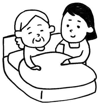 介護のイラスト「ベッドのおばあさん」 白黒線画