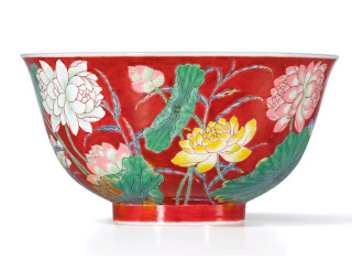 Imperial Kangxi Enamel Double Lotus Bowl