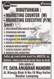 Lowongan Kerja Marketing Executive & Counter