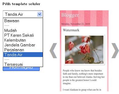 Gambar 3 Pilih Tema Templates Seluler