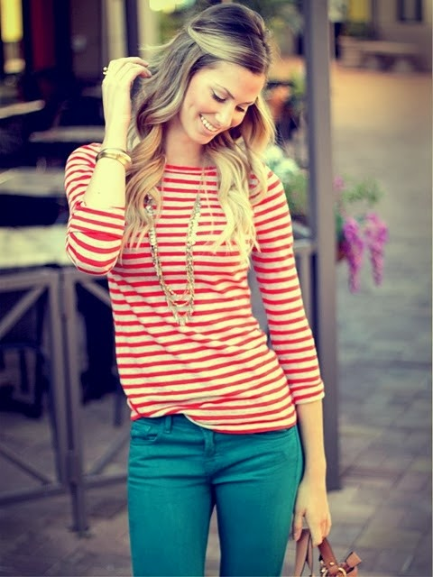 Stripes + colored jeans The hair The bag...love it all