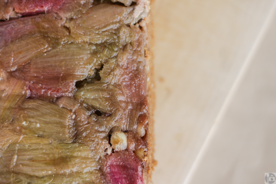 Rhubarb & Hazelnut Upside-down Cake Close Up