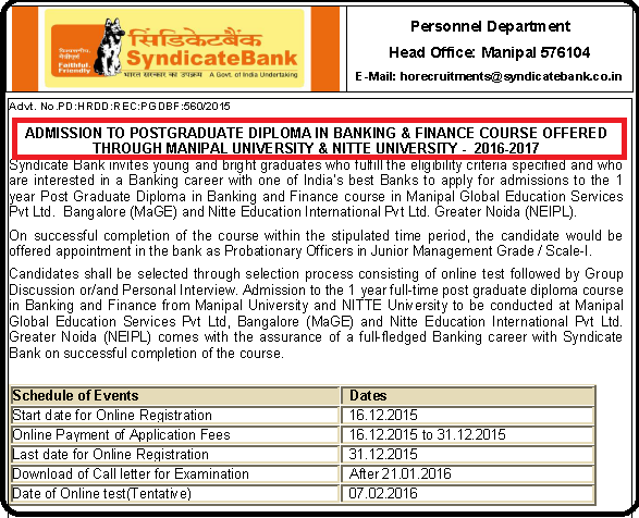 Syndicate Bank Latest 600 Probationary Officers (PGDBF) Recruitment Advertisement December 2015