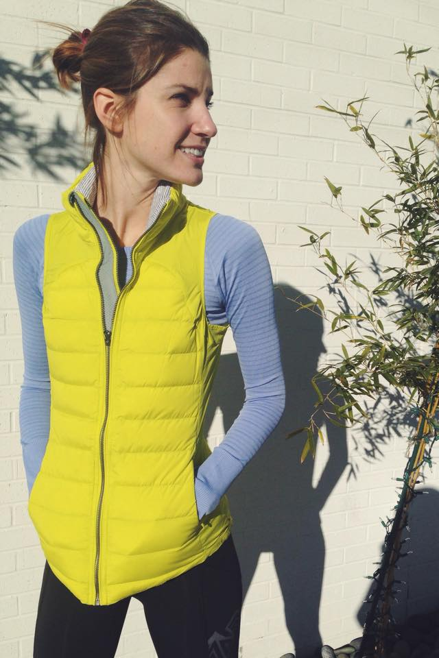 lululemon fluffed up vest split pea