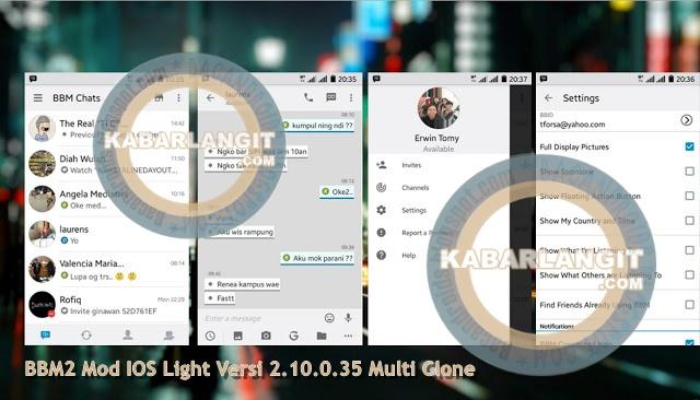 Download BBM2 Mod Tampilan IOS Light Versi 2.10.0.35 Multi Clone