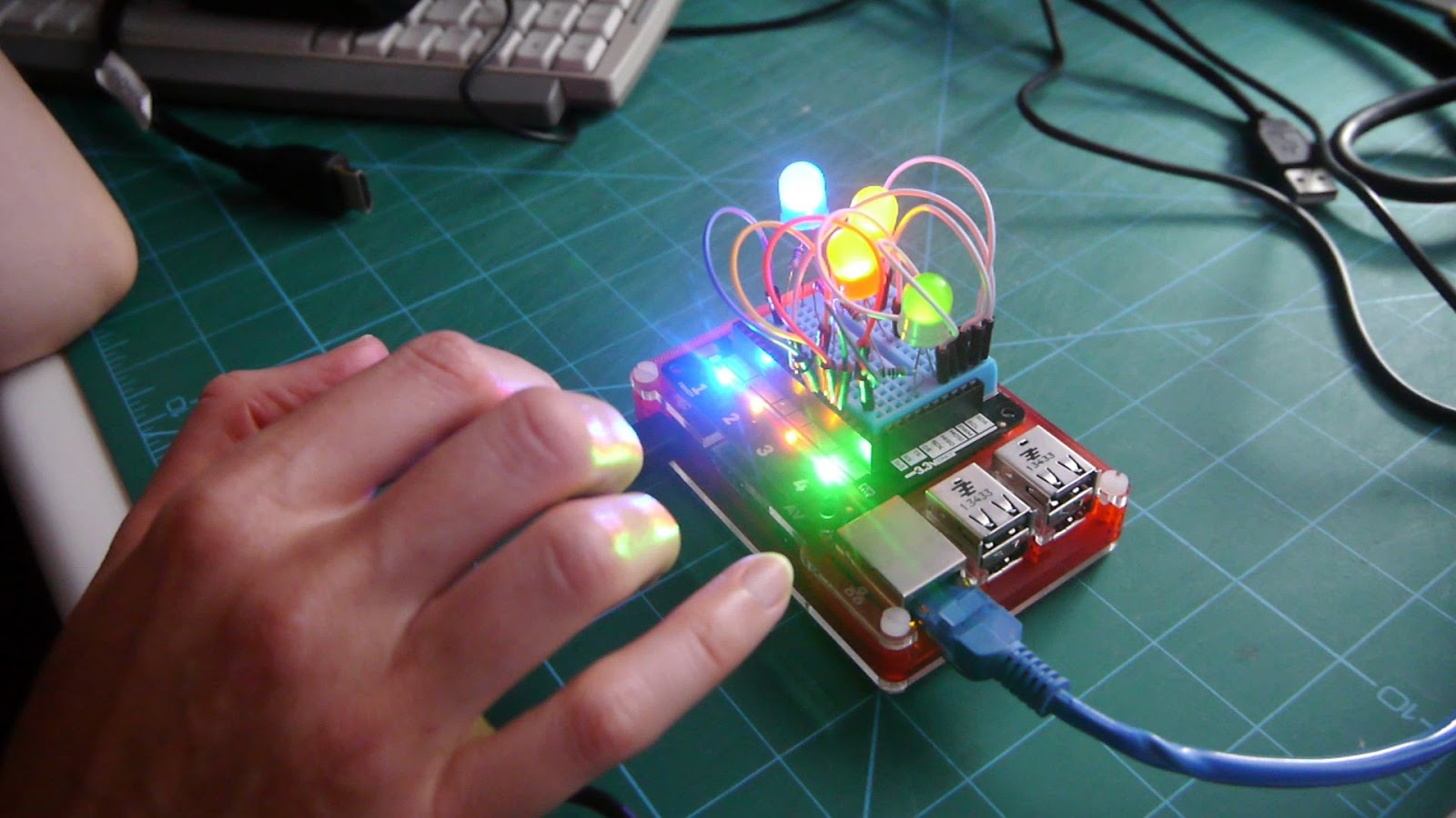 Simon Says Game Made With A Raspberry Pi And Pimoroni Explorerhat Breadboard Wire Kit Watterott Electronic Richard Hayler Has Produced By Wiring Up Some Leds Onto The Of An Then Writing Necessary Python Code