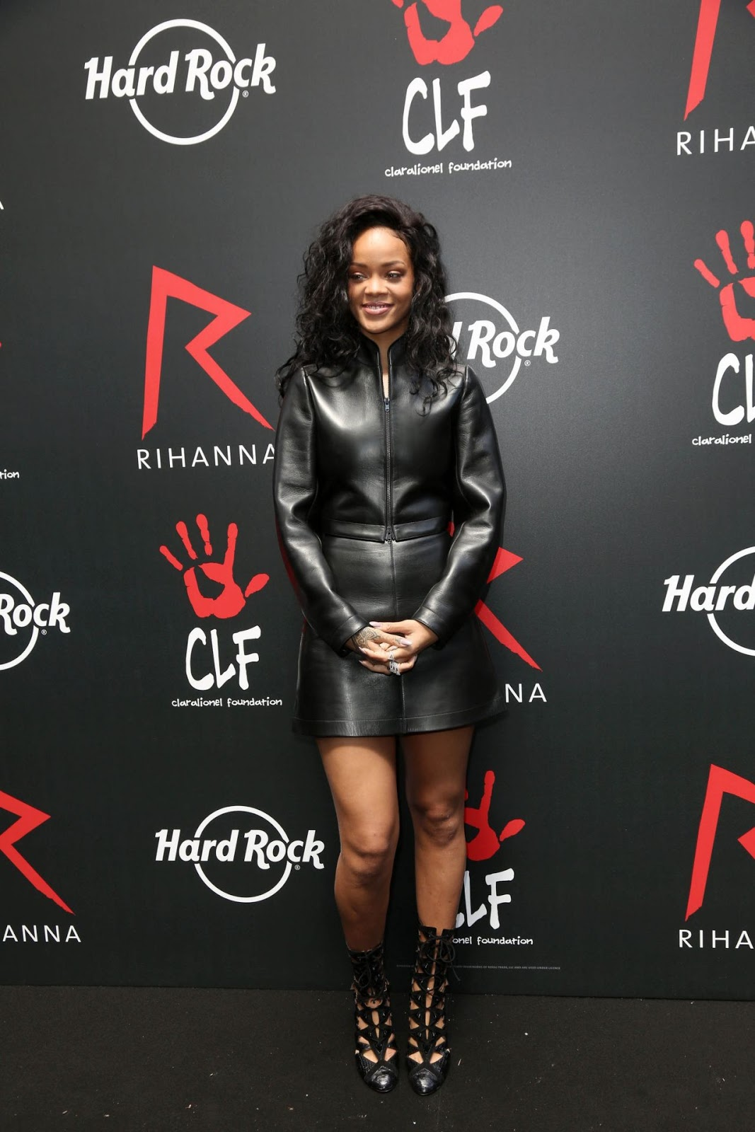 Rihanna flaunts a leather look at 'The Clara Lionel Foundation' T-Shirt Launch in Paris