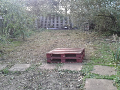 Strimmed wildflower meadow and pallet table