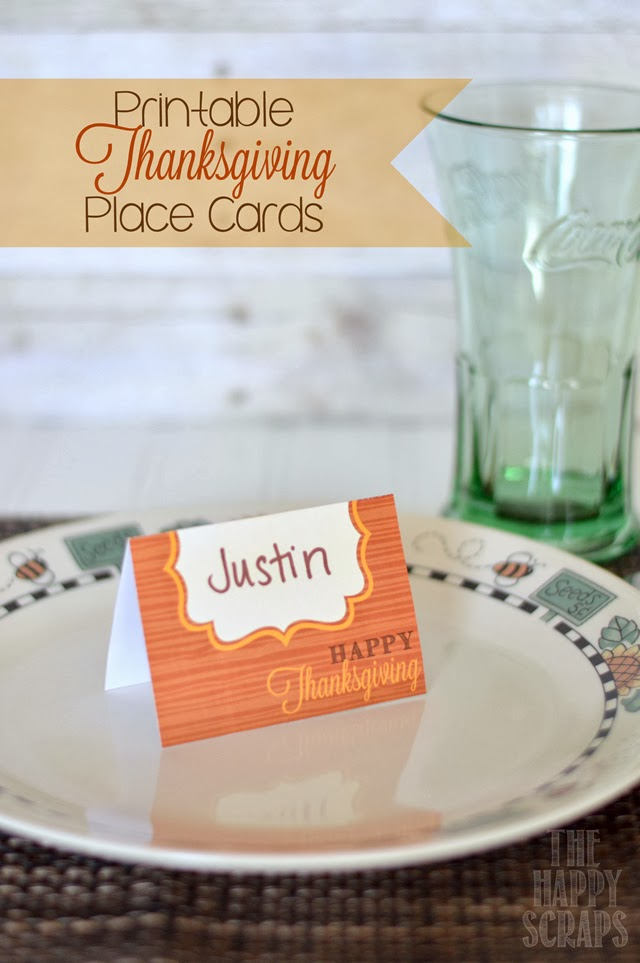 Fan image in printable thanksgiving place cards