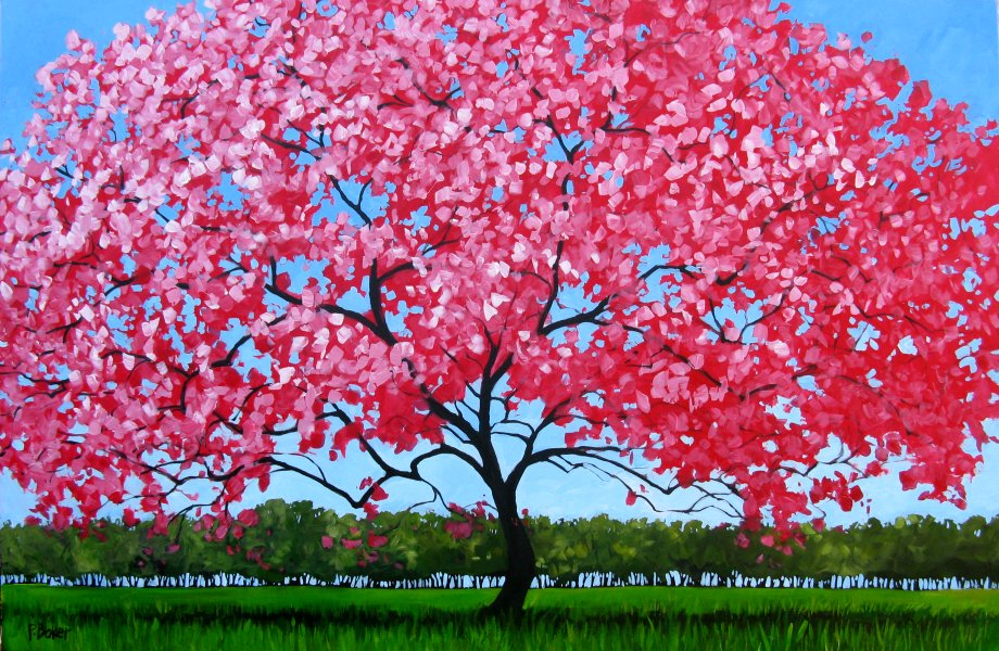Patty baker fine art blog original acrylic paintings pink blossoms mightylinksfo