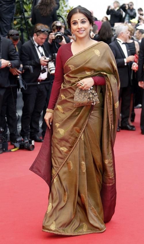 vidya balan in sabyasachi saree at cannes film festival