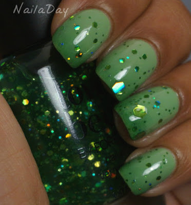NailaDay: Sinful Colors Gradient with Green Glitter