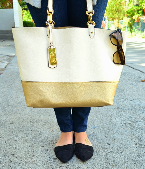 leather ralph lauren bag, ray-ban sunglasses, d'orsay flats