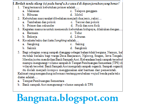 Soal Ulangan Kelas 2 Sd Bahasa Indonesia Ktsp Blog Bang Nata