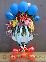 rangkaian balon dan bunga, bunga balon ulang tahun, toko bunga di jakarta, bunga anniversary, kado kelahiran bayi kembar