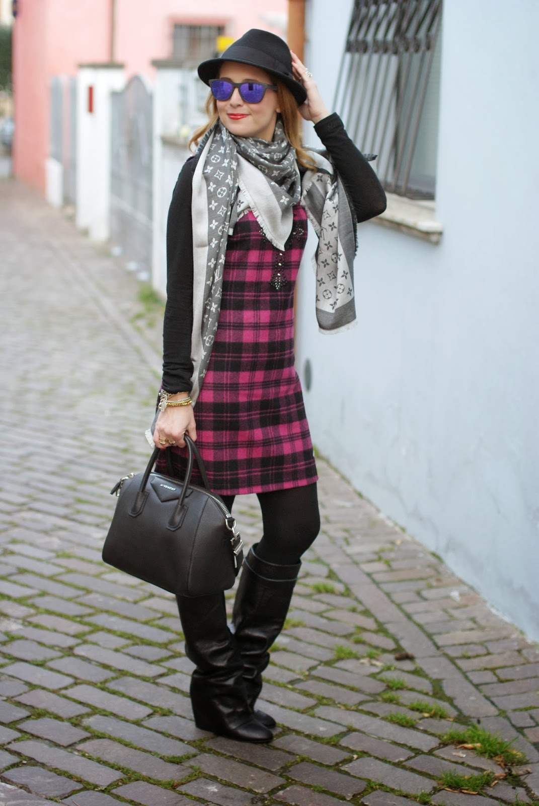 blugirl folies check dress, tartan dress, louis vuitton scarf, givenchy antigona, Fashion and Cookies, fashion blogger