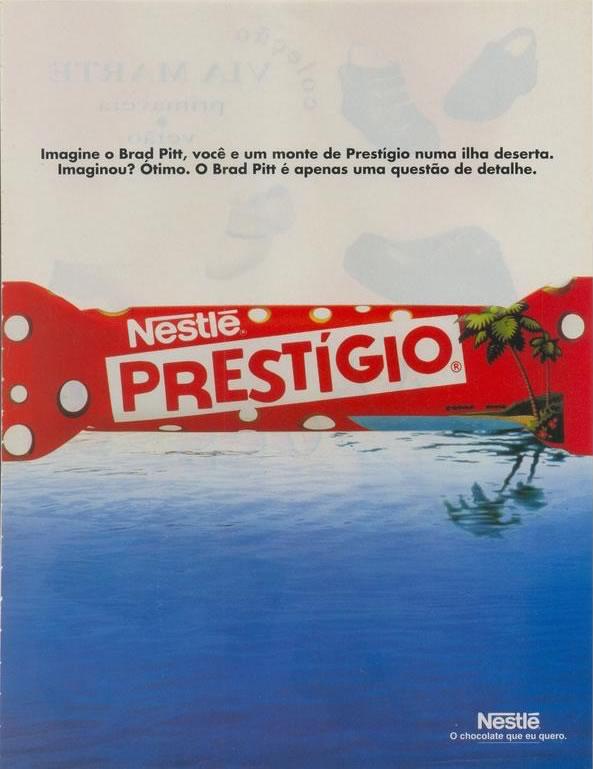 Propaganda do chocolate Prestígio em 1995: Brad Pitt em uma ilha deserta.