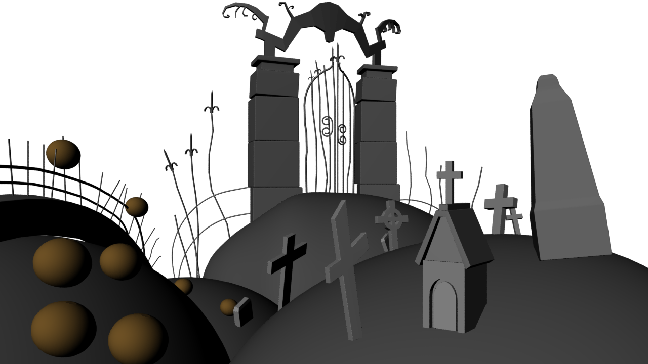 the nightmare before christmas halloween town gate textures assigned shaders