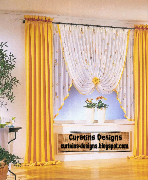 Modern Yellow Curtain With Stylish Shade Style   2 Panels
