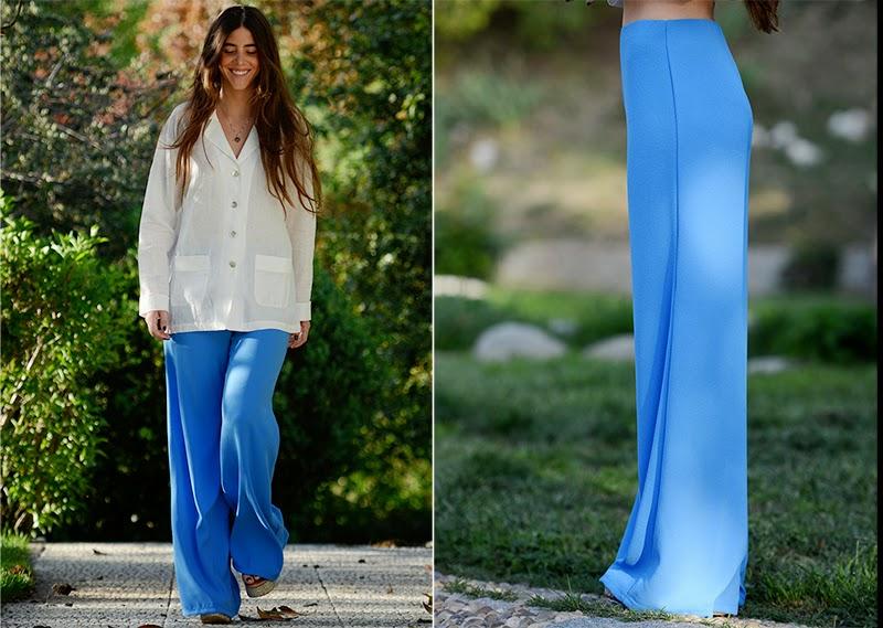 Pantalón azul klein y Blusa tipo Pyjama de Ninasvintage