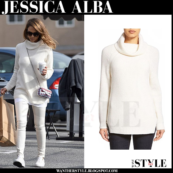 Jessica Alba in white knit turtleneck sweater and white jeans what she wore winter fashion