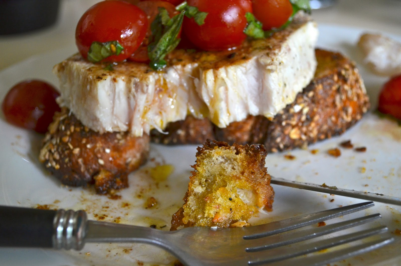 Swordfish bruschetta