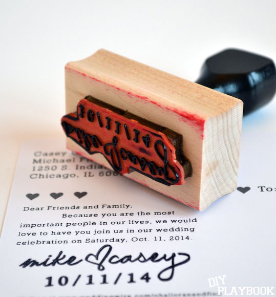 A custom stamp for Mike and Casey to sign their save the date cards