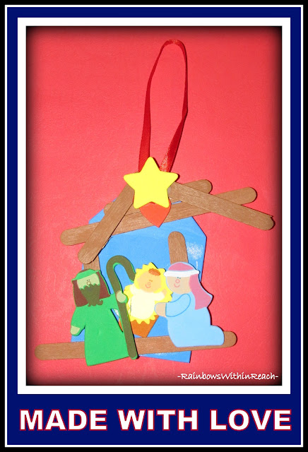 photo of: Christmas Manger Scene with Popsicle Sticks via RainbowsWithinReach