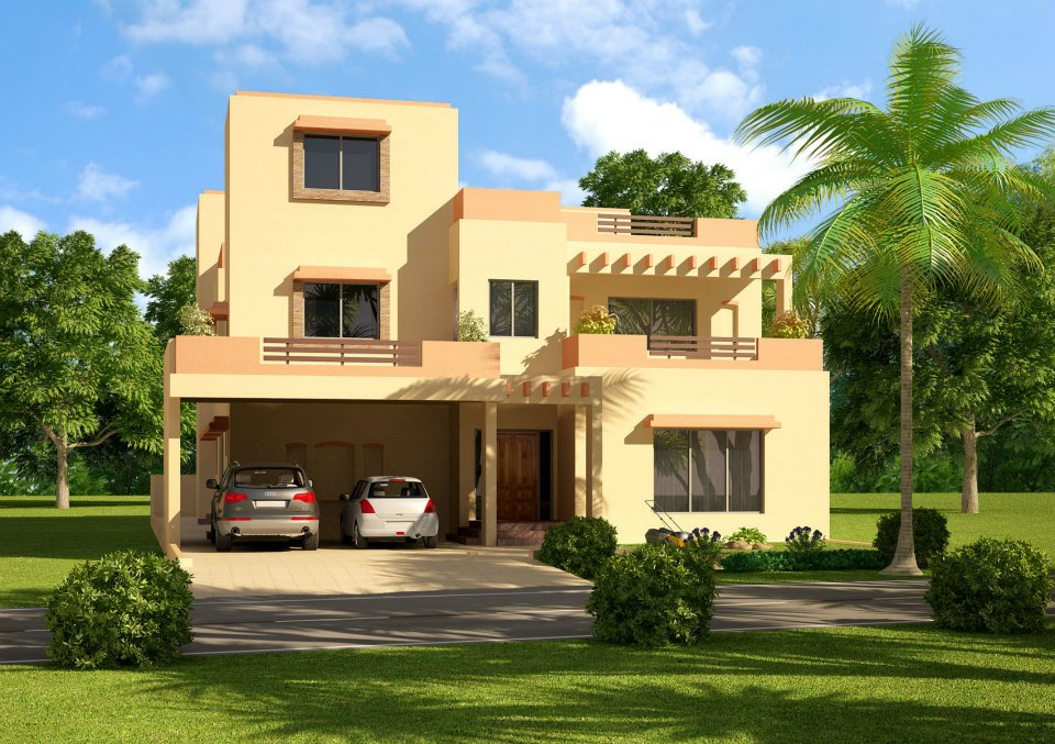 3d front 1 kanal 2 kanal house in lahore for Beautiful home front design